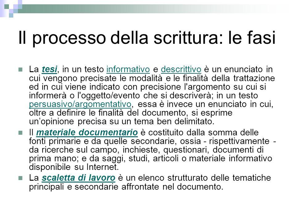 Il processo della scrittura: le fasi La tesi, in un testo informativo e descrittivo è un enunciato in cui vengono precisate le modalità e le finalità