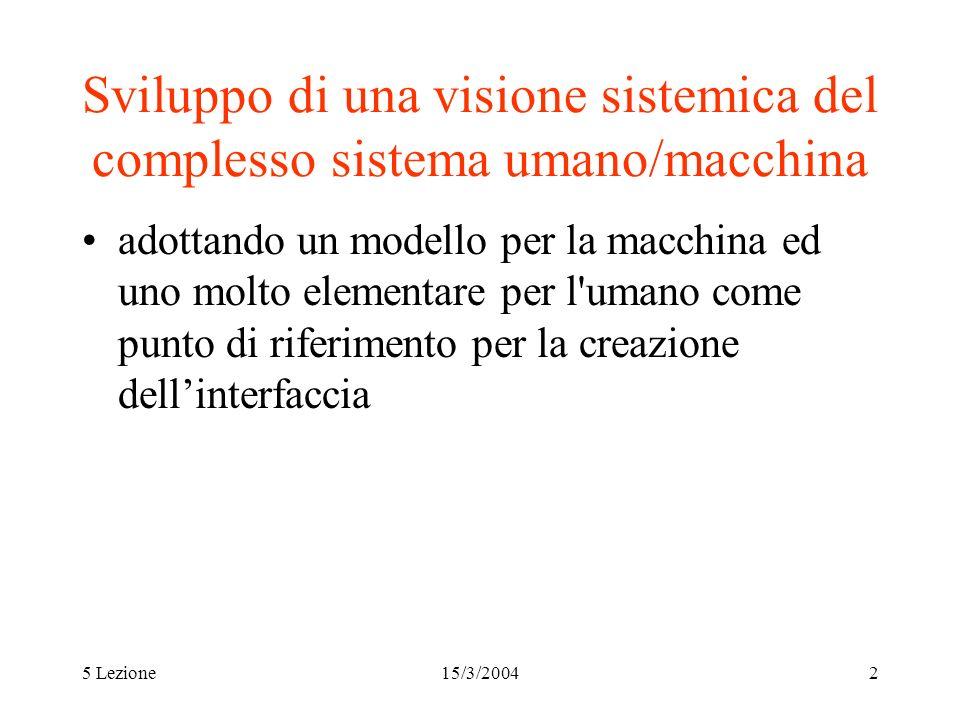 5 Lezione15/3/20042 Sviluppo di una visione sistemica del complesso sistema umano/macchina adottando un modello per la macchina ed uno molto elementar