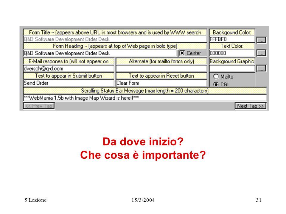 5 Lezione15/3/200431 Da dove inizio? Che cosa è importante?