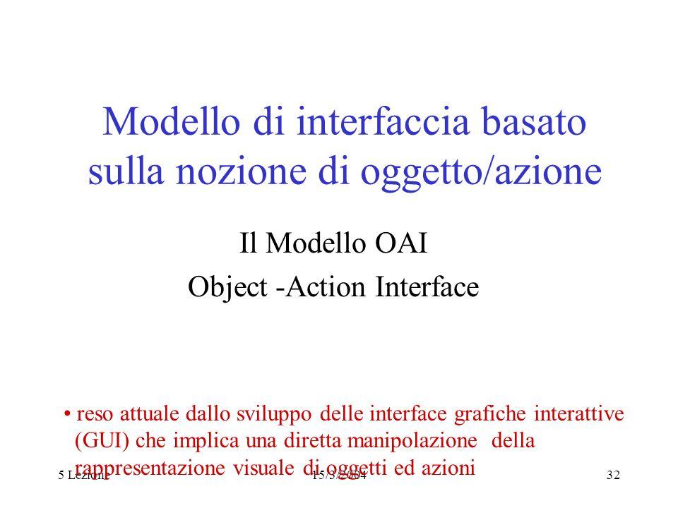 5 Lezione15/3/200432 Modello di interfaccia basato sulla nozione di oggetto/azione Il Modello OAI Object -Action Interface reso attuale dallo sviluppo