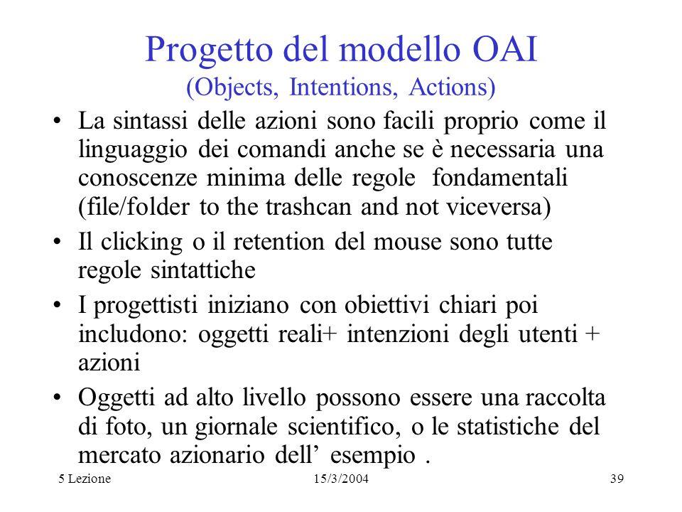 5 Lezione15/3/200439 Progetto del modello OAI (Objects, Intentions, Actions) La sintassi delle azioni sono facili proprio come il linguaggio dei coman