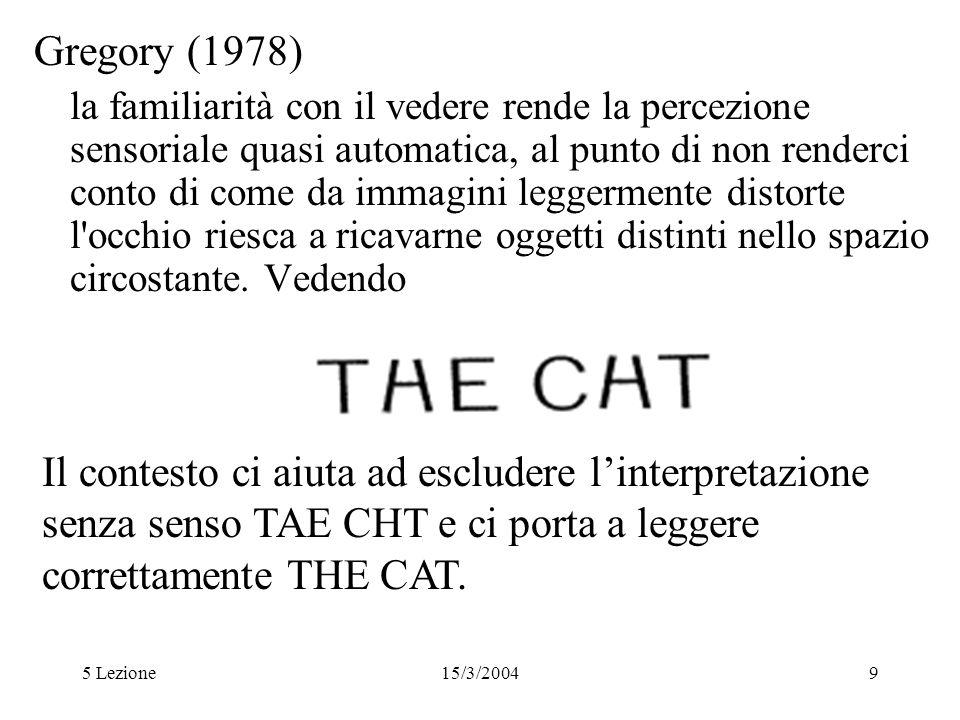 5 Lezione15/3/20049 Gregory (1978) la familiarità con il vedere rende la percezione sensoriale quasi automatica, al punto di non renderci conto di com