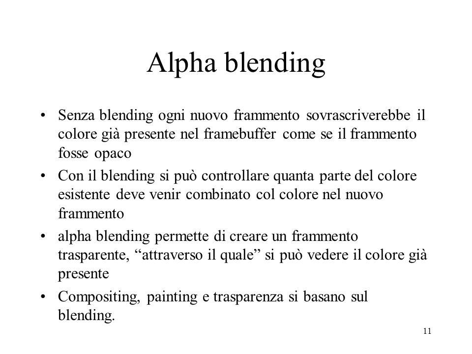 11 Alpha blending Senza blending ogni nuovo frammento sovrascriverebbe il colore già presente nel framebuffer come se il frammento fosse opaco Con il