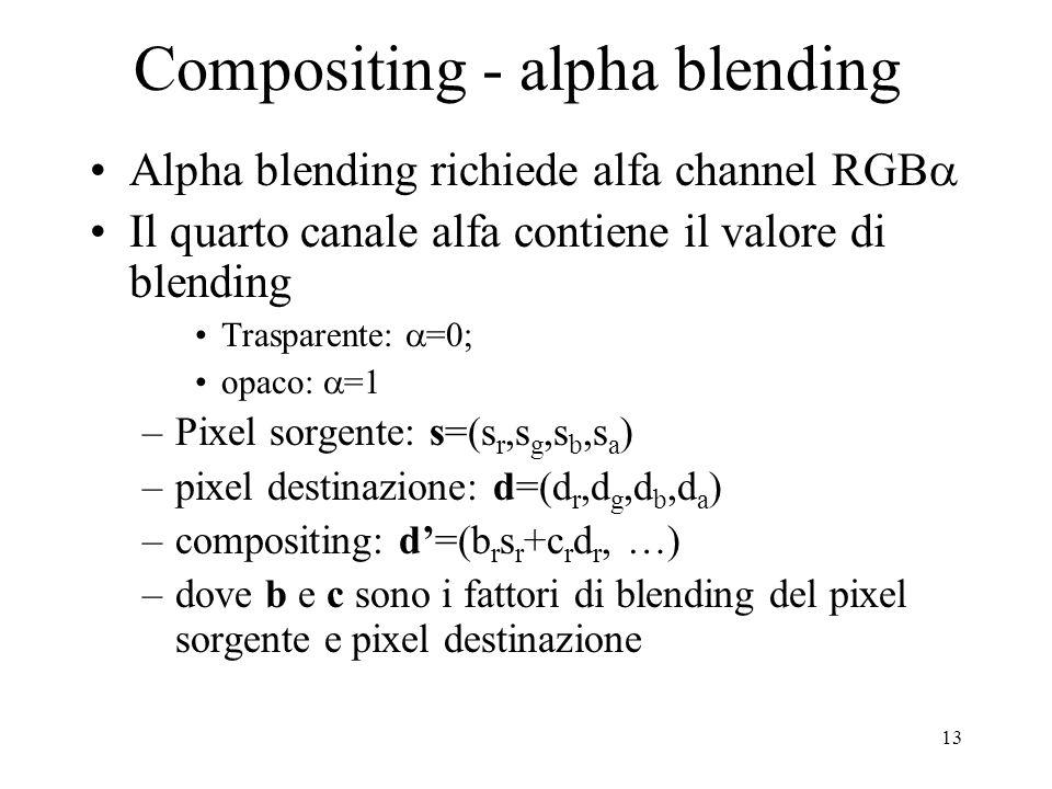 13 Compositing - alpha blending Alpha blending richiede alfa channel RGB Il quarto canale alfa contiene il valore di blending Trasparente: =0; opaco: =1 –Pixel sorgente: s=(s r,s g,s b,s a ) –pixel destinazione: d=(d r,d g,d b,d a ) –compositing: d=(b r s r +c r d r, …) –dove b e c sono i fattori di blending del pixel sorgente e pixel destinazione