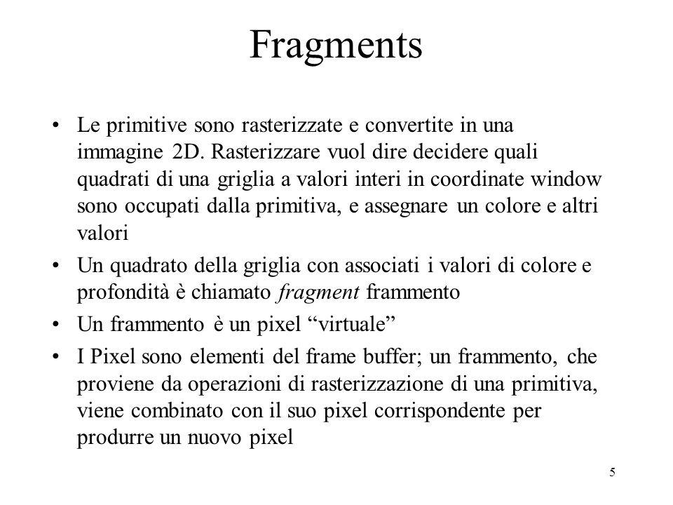 5 Fragments Le primitive sono rasterizzate e convertite in una immagine 2D. Rasterizzare vuol dire decidere quali quadrati di una griglia a valori int