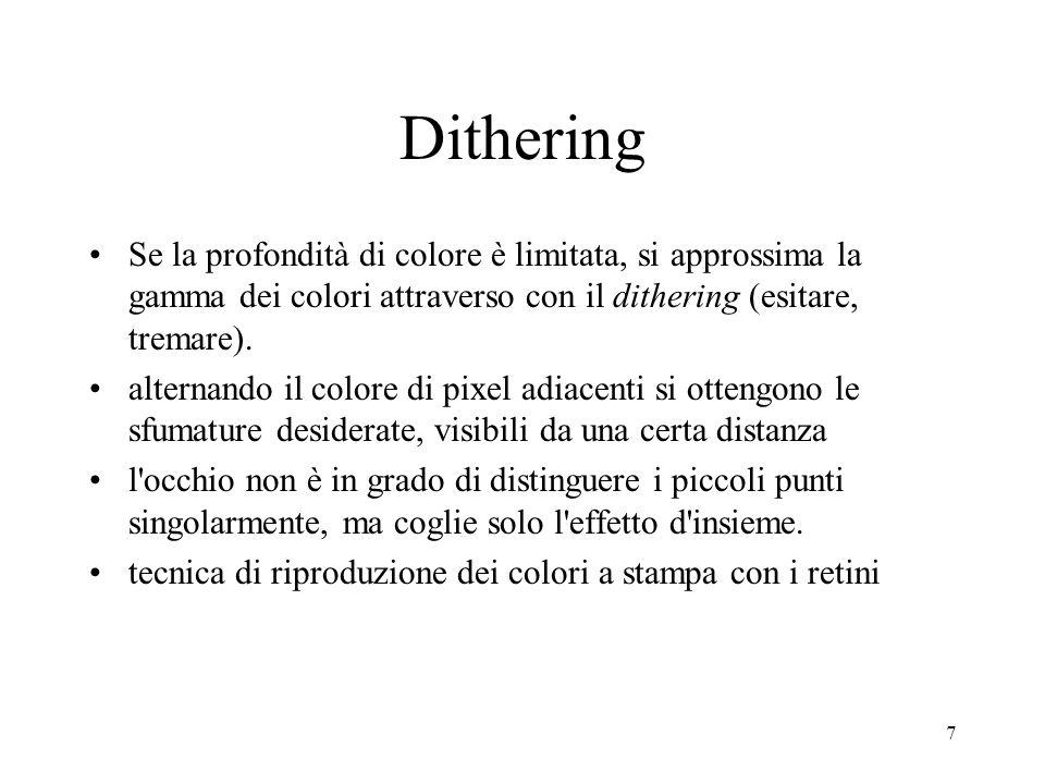 7 Dithering Se la profondità di colore è limitata, si approssima la gamma dei colori attraverso con il dithering (esitare, tremare). alternando il col