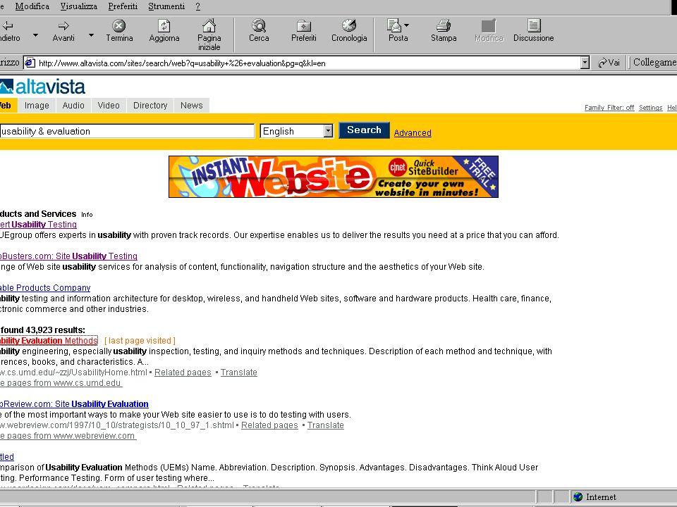 10 Lezione 5 Aprile 200423 Analisi risultati di un test di usabilità: esempio (Registrazione utente in un sito di e-commerce)