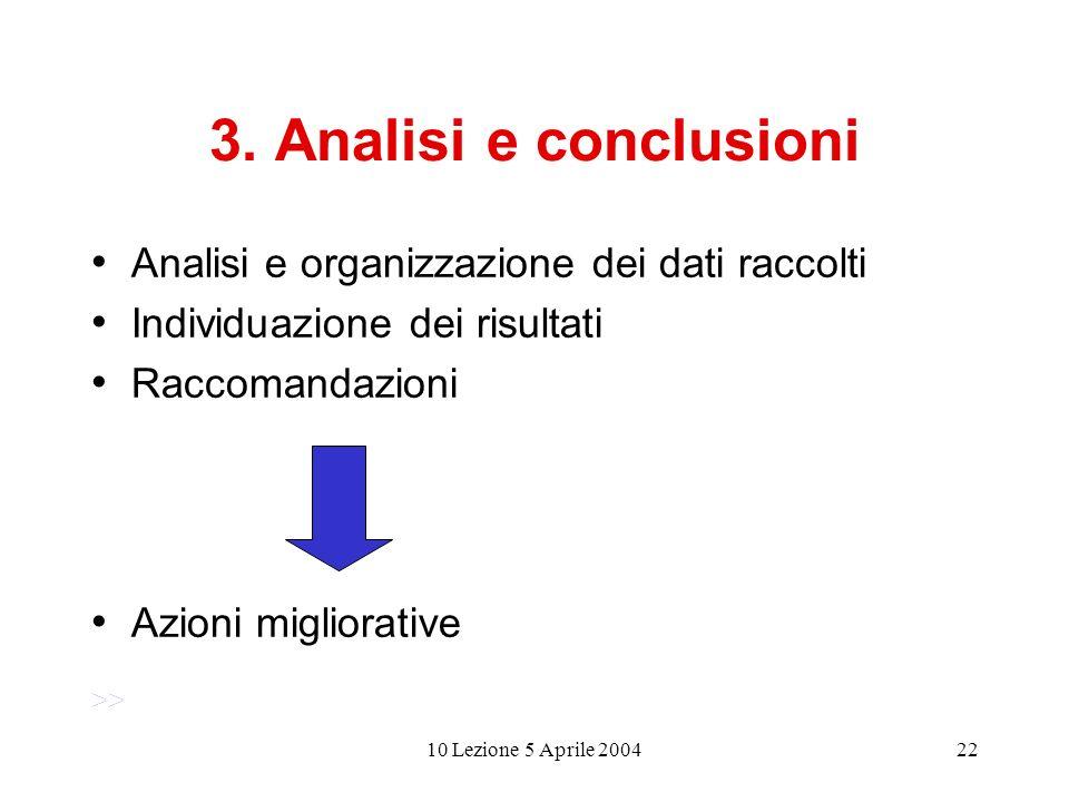 10 Lezione 5 Aprile 200422 3. Analisi e conclusioni Analisi e organizzazione dei dati raccolti Individuazione dei risultati Raccomandazioni Azioni mig