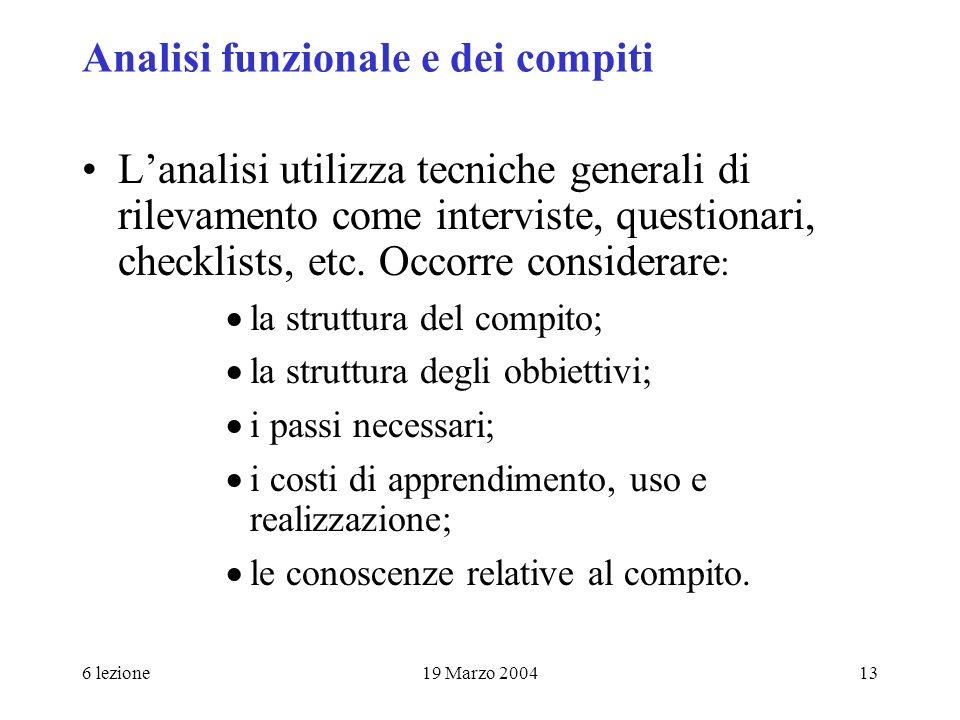 6 lezione19 Marzo 200413 Analisi funzionale e dei compiti Lanalisi utilizza tecniche generali di rilevamento come interviste, questionari, checklists,