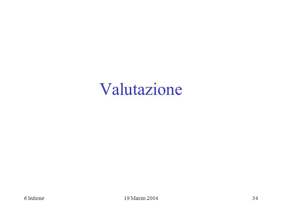 6 lezione19 Marzo 200434 Valutazione