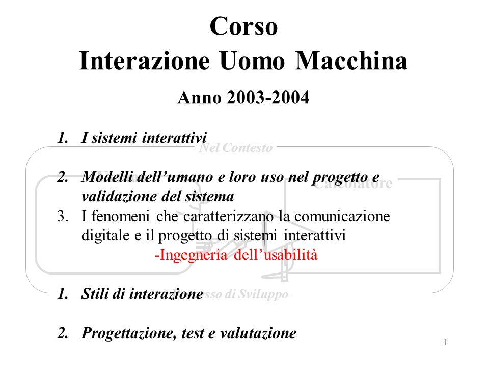 1 Corso Interazione Uomo Macchina Anno 2003-2004 Umano Calcolatore Nel Contesto Processo di Sviluppo 1.I sistemi interattivi 2.Modelli dellumano e lor
