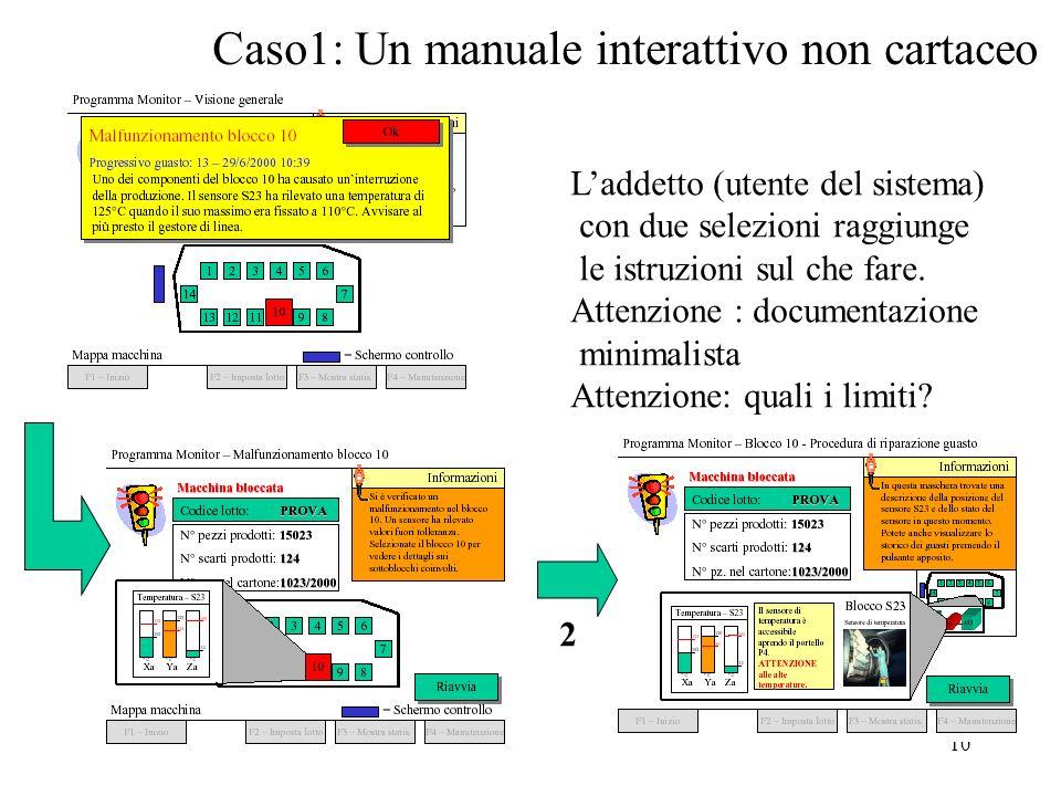 10 Caso1: Un manuale interattivo non cartaceo 2 Laddetto (utente del sistema) con due selezioni raggiunge le istruzioni sul che fare.