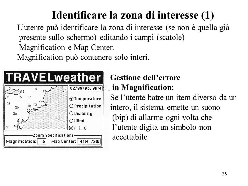 28 Identificare la zona di interesse (1) Lutente può identificare la zona di interesse (se non è quella già presente sullo schermo) editando i campi (