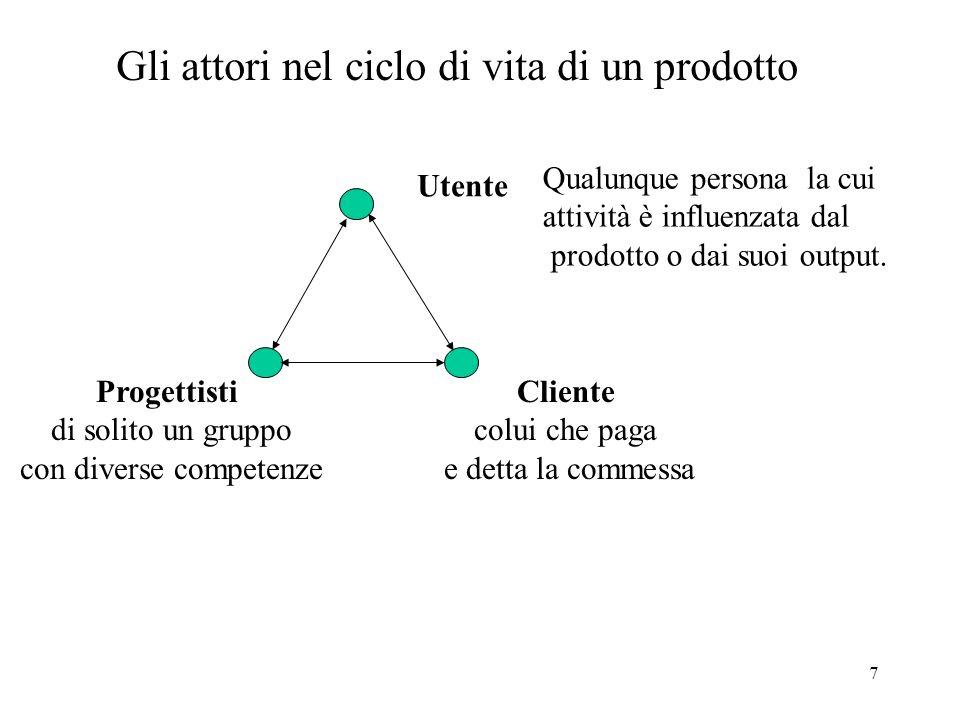 7 Gli attori nel ciclo di vita di un prodotto Progettisti di solito un gruppo con diverse competenze Cliente colui che paga e detta la commessa Utente Qualunque persona la cui attività è influenzata dal prodotto o dai suoi output.