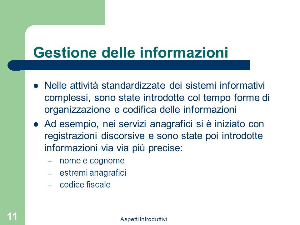 Aspetti Introduttivi 11 Gestione delle informazioni Nelle attività standardizzate dei sistemi informativi complessi, sono state introdotte col tempo f