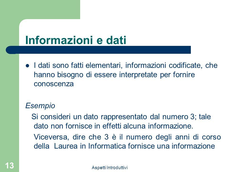Aspetti Introduttivi 13 Informazioni e dati I dati sono fatti elementari, informazioni codificate, che hanno bisogno di essere interpretate per fornir