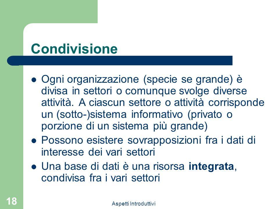 Aspetti Introduttivi 18 Condivisione Ogni organizzazione (specie se grande) è divisa in settori o comunque svolge diverse attività. A ciascun settore