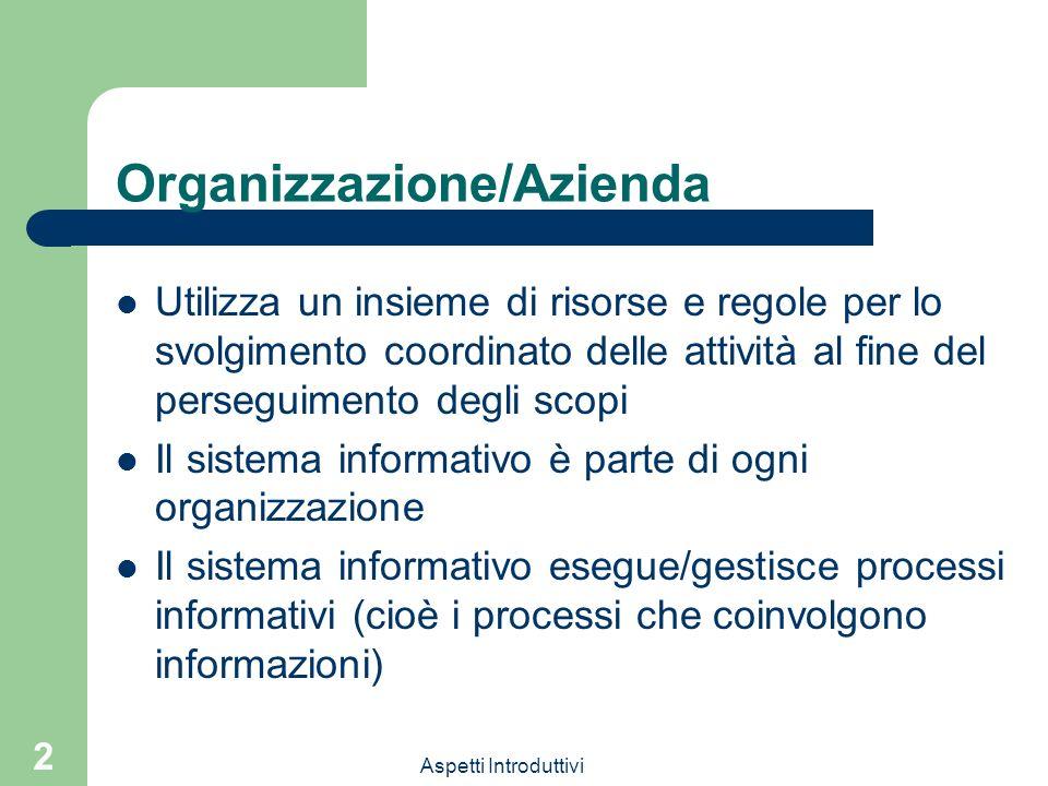 Aspetti Introduttivi 2 Organizzazione/Azienda Utilizza un insieme di risorse e regole per lo svolgimento coordinato delle attività al fine del persegu