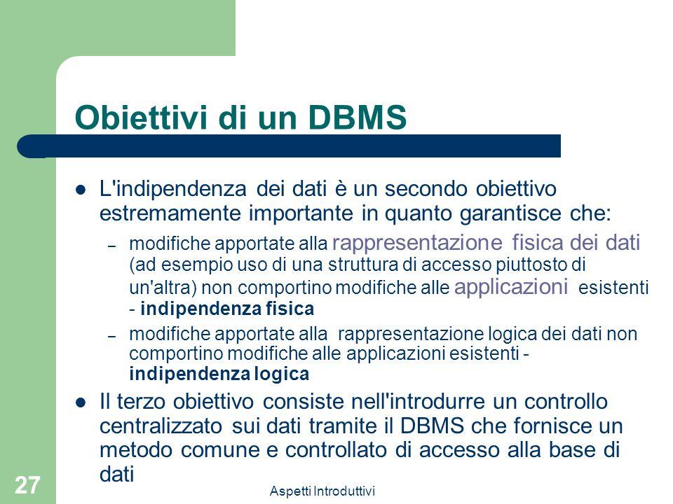 Aspetti Introduttivi 27 Obiettivi di un DBMS L'indipendenza dei dati è un secondo obiettivo estremamente importante in quanto garantisce che: – modifi