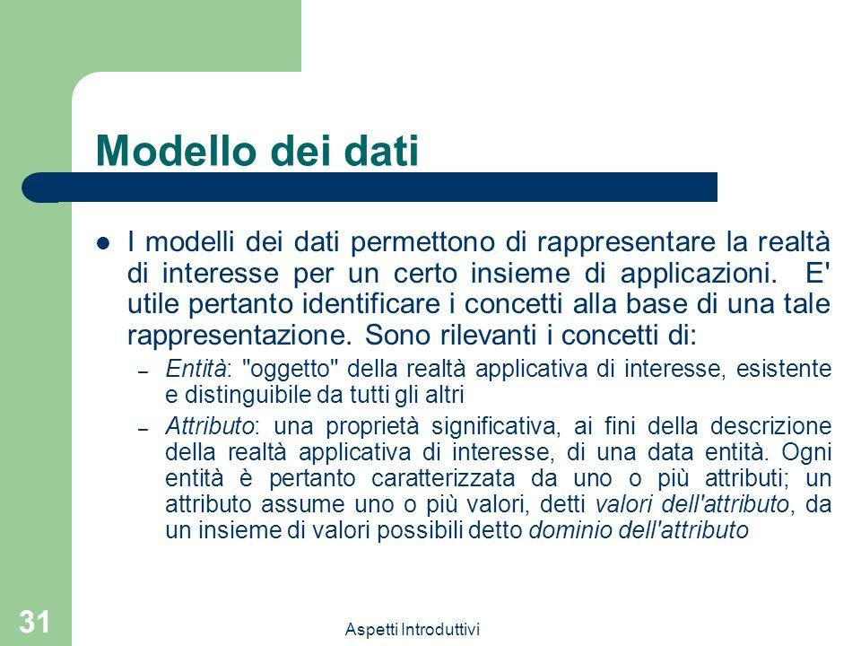 Aspetti Introduttivi 31 Modello dei dati I modelli dei dati permettono di rappresentare la realtà di interesse per un certo insieme di applicazioni. E