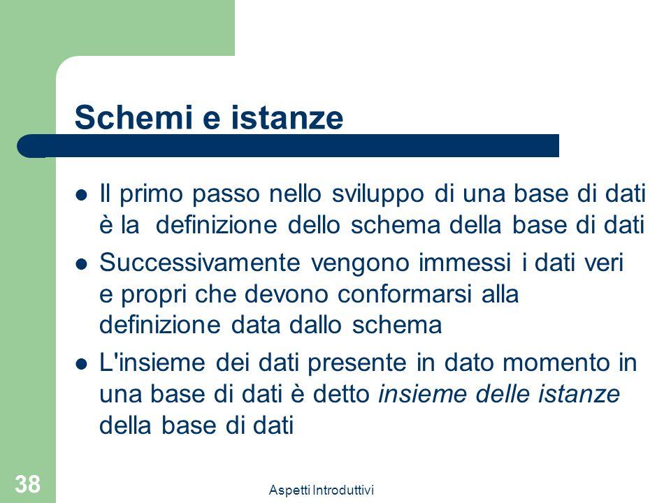 Aspetti Introduttivi 38 Schemi e istanze Il primo passo nello sviluppo di una base di dati è la definizione dello schema della base di dati Successiva