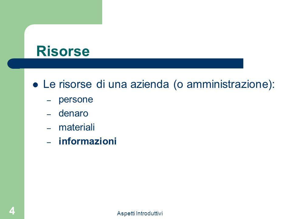 Aspetti Introduttivi 4 Risorse Le risorse di una azienda (o amministrazione): – persone – denaro – materiali – informazioni