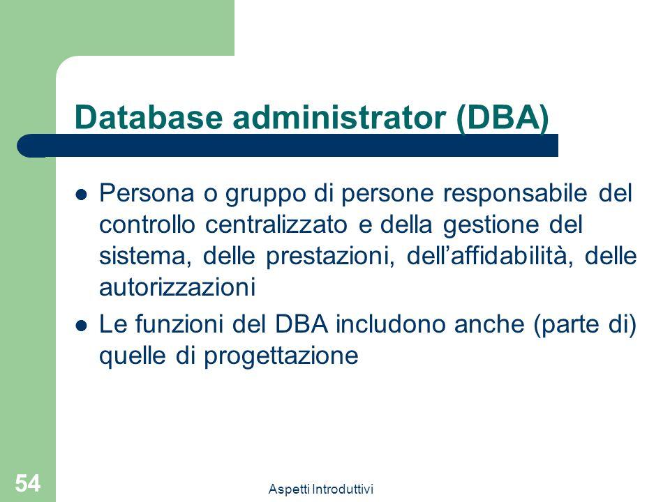 Aspetti Introduttivi 54 Database administrator (DBA) Persona o gruppo di persone responsabile del controllo centralizzato e della gestione del sistema