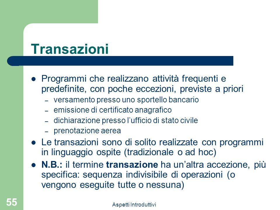 Aspetti Introduttivi 55 Transazioni Programmi che realizzano attività frequenti e predefinite, con poche eccezioni, previste a priori – versamento pre