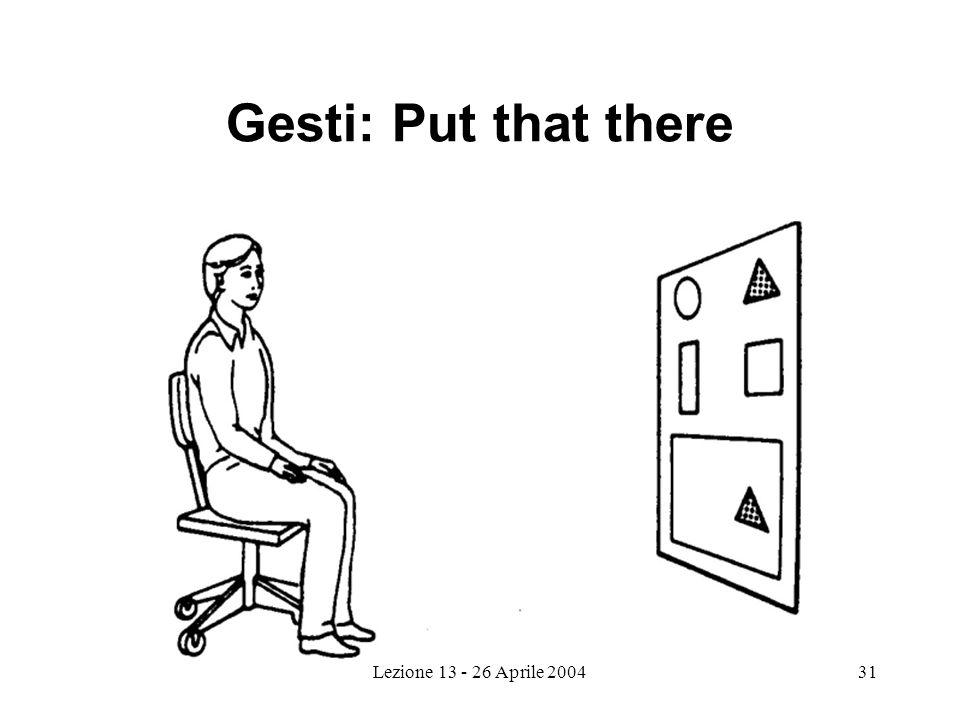 Lezione 13 - 26 Aprile 200431 Gesti: Put that there
