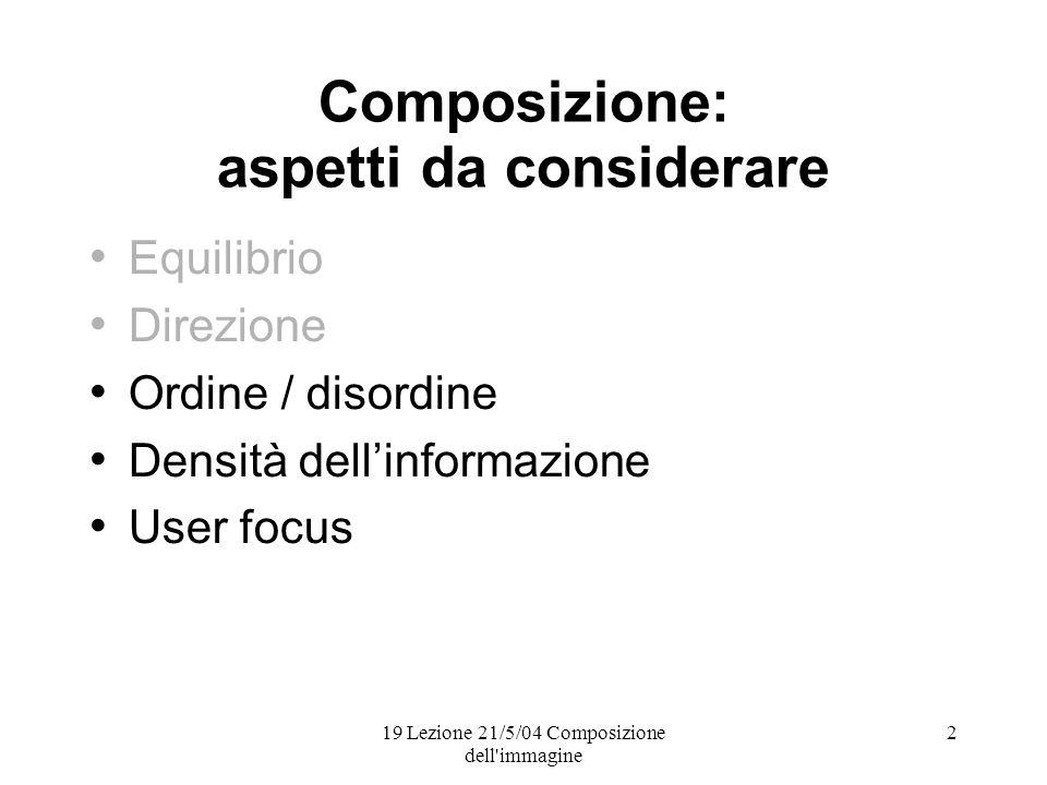 19 Lezione 21/5/04 Composizione dell immagine 2 Composizione: aspetti da considerare Equilibrio Direzione Ordine / disordine Densità dellinformazione User focus