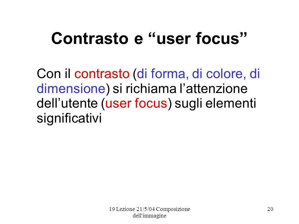 19 Lezione 21/5/04 Composizione dell immagine 20 Contrasto e user focus Con il contrasto (di forma, di colore, di dimensione) si richiama lattenzione dellutente (user focus) sugli elementi significativi