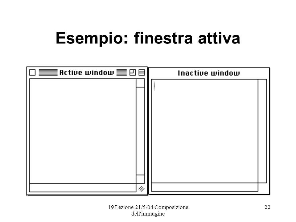 19 Lezione 21/5/04 Composizione dell immagine 22 Esempio: finestra attiva