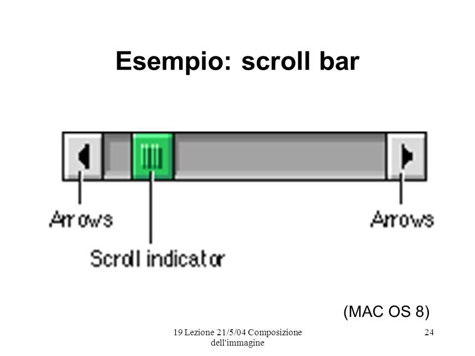 19 Lezione 21/5/04 Composizione dell immagine 24 Esempio: scroll bar (MAC OS 8)