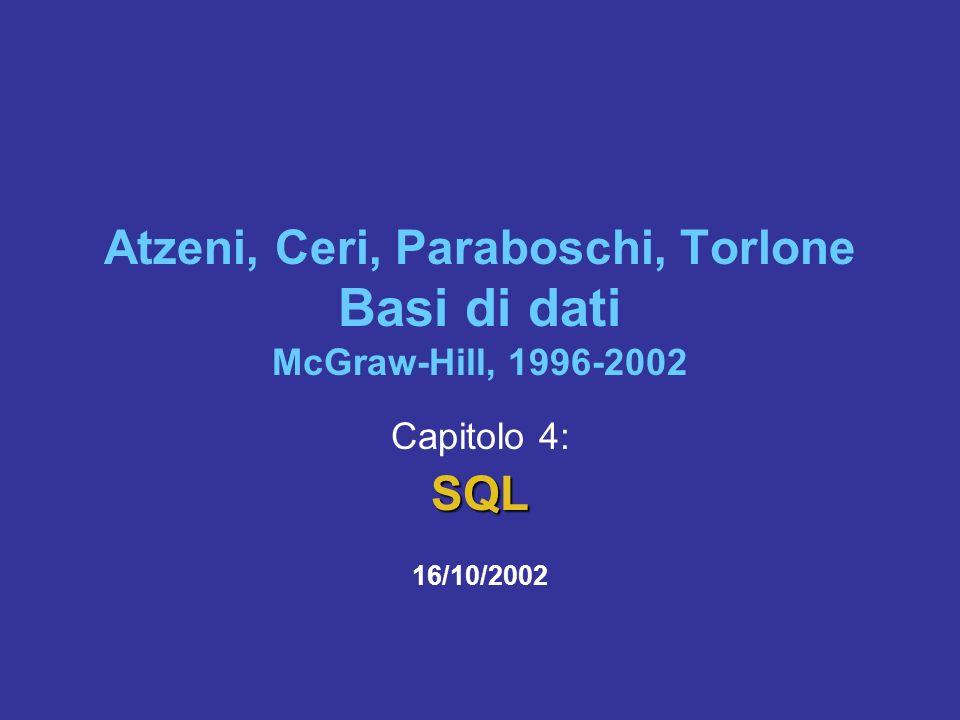 Atzeni, Ceri, Paraboschi, Torlone Basi di dati McGraw-Hill, 1996-2002 Capitolo 4:SQL 16/10/2002