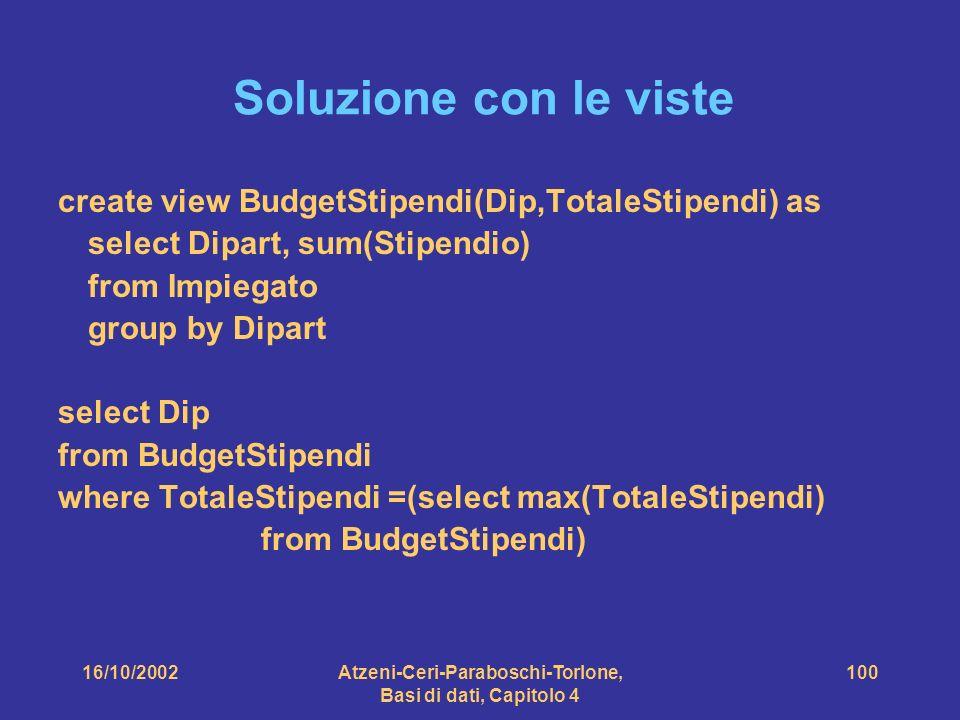 16/10/2002Atzeni-Ceri-Paraboschi-Torlone, Basi di dati, Capitolo 4 100 Soluzione con le viste create view BudgetStipendi(Dip,TotaleStipendi) as select Dipart, sum(Stipendio) from Impiegato group by Dipart select Dip from BudgetStipendi where TotaleStipendi =(select max(TotaleStipendi) from BudgetStipendi)