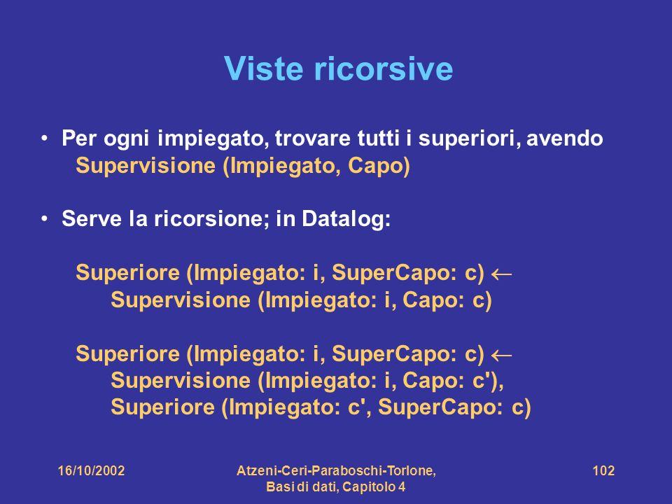 16/10/2002Atzeni-Ceri-Paraboschi-Torlone, Basi di dati, Capitolo 4 102 Viste ricorsive Per ogni impiegato, trovare tutti i superiori, avendo Supervisione (Impiegato, Capo) Serve la ricorsione; in Datalog: Superiore (Impiegato: i, SuperCapo: c) Supervisione (Impiegato: i, Capo: c) Superiore (Impiegato: i, SuperCapo: c) Supervisione (Impiegato: i, Capo: c ), Superiore (Impiegato: c , SuperCapo: c)