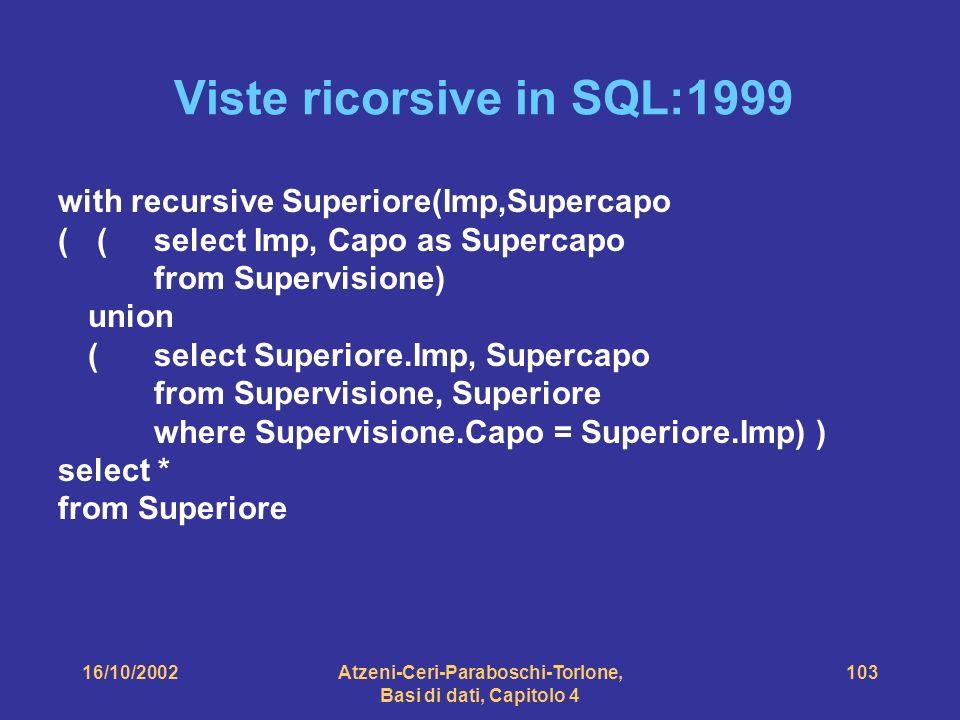16/10/2002Atzeni-Ceri-Paraboschi-Torlone, Basi di dati, Capitolo 4 103 Viste ricorsive in SQL:1999 with recursive Superiore(Imp,Supercapo ( ( select Imp, Capo as Supercapo from Supervisione) union (select Superiore.Imp, Supercapo from Supervisione, Superiore where Supervisione.Capo = Superiore.Imp) ) select * from Superiore