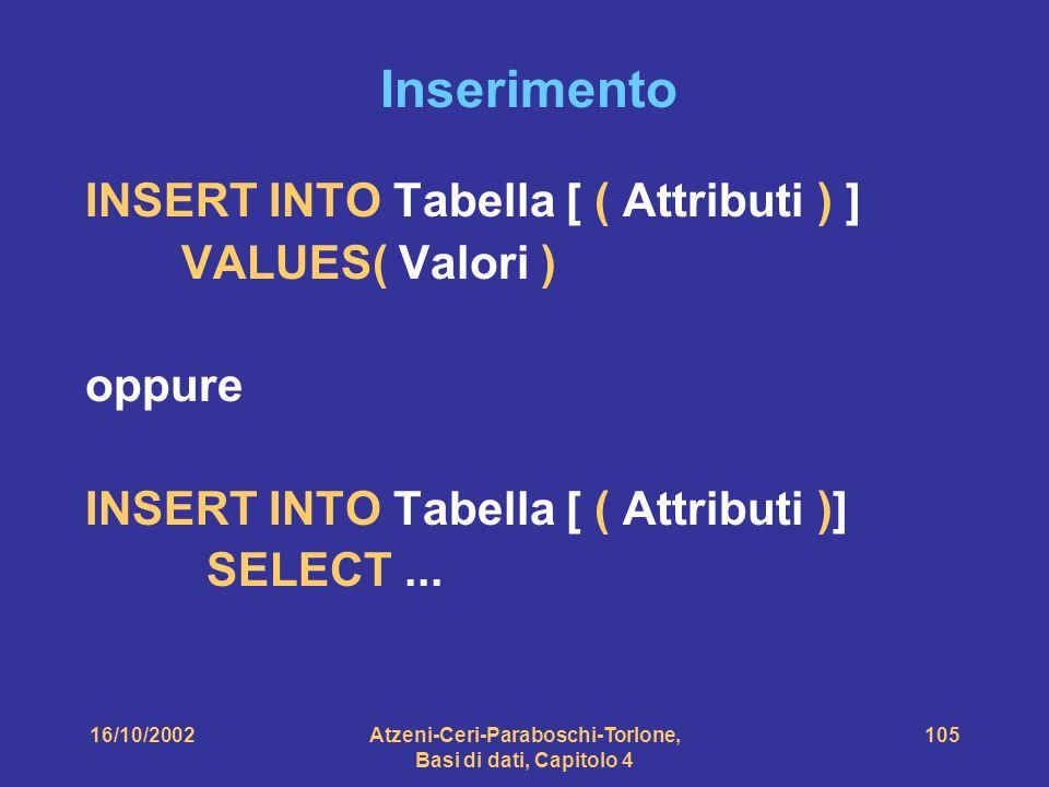 16/10/2002Atzeni-Ceri-Paraboschi-Torlone, Basi di dati, Capitolo 4 105 Inserimento INSERT INTO Tabella [ ( Attributi ) ] VALUES( Valori ) oppure INSERT INTO Tabella [ ( Attributi )] SELECT...
