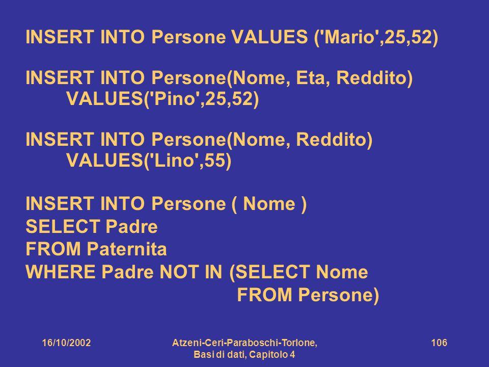16/10/2002Atzeni-Ceri-Paraboschi-Torlone, Basi di dati, Capitolo 4 106 INSERT INTO Persone VALUES ( Mario ,25,52) INSERT INTO Persone(Nome, Eta, Reddito) VALUES( Pino ,25,52) INSERT INTO Persone(Nome, Reddito) VALUES( Lino ,55) INSERT INTO Persone ( Nome ) SELECT Padre FROM Paternita WHERE Padre NOT IN (SELECT Nome FROM Persone)