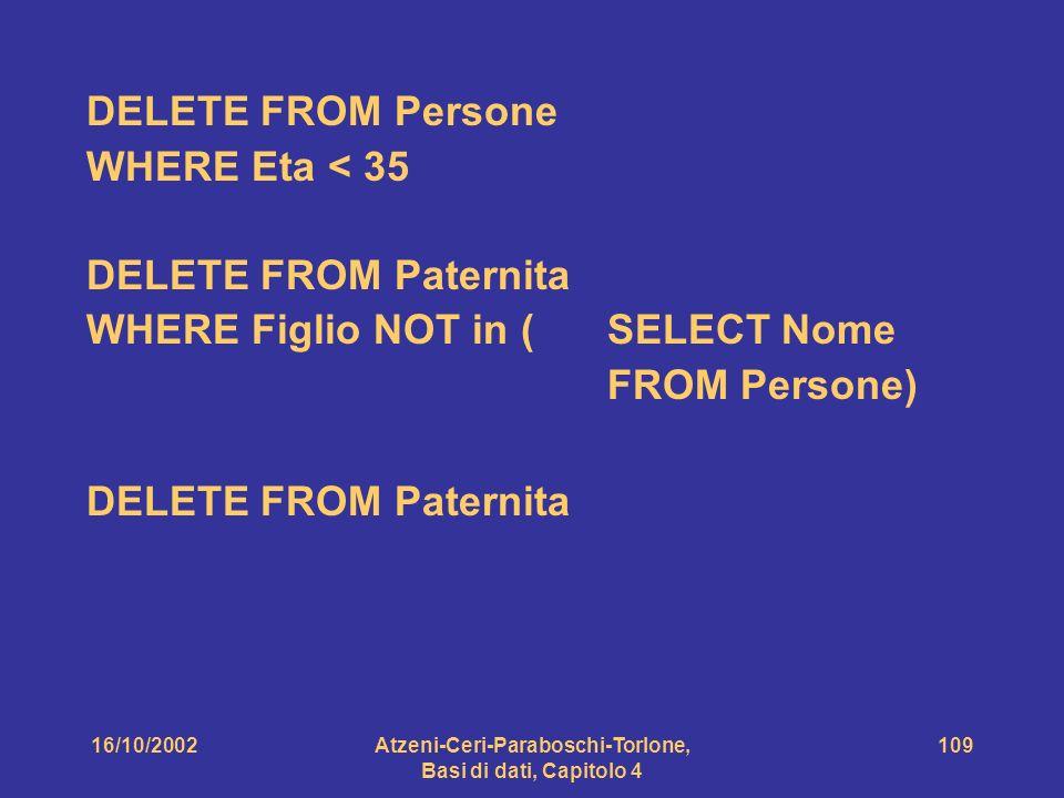 16/10/2002Atzeni-Ceri-Paraboschi-Torlone, Basi di dati, Capitolo 4 109 DELETE FROM Persone WHERE Eta < 35 DELETE FROM Paternita WHERE Figlio NOT in (SELECT Nome FROM Persone) DELETE FROM Paternita