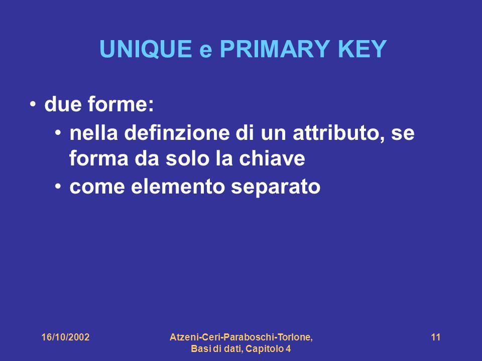 16/10/2002Atzeni-Ceri-Paraboschi-Torlone, Basi di dati, Capitolo 4 11 UNIQUE e PRIMARY KEY due forme: nella definzione di un attributo, se forma da solo la chiave come elemento separato