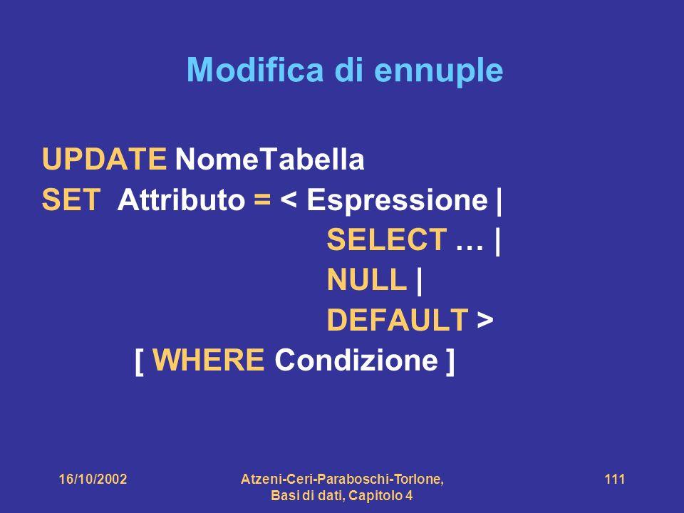 16/10/2002Atzeni-Ceri-Paraboschi-Torlone, Basi di dati, Capitolo 4 111 Modifica di ennuple UPDATE NomeTabella SET Attributo = < Espressione | SELECT … | NULL | DEFAULT > [ WHERE Condizione ]