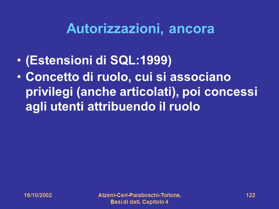 16/10/2002Atzeni-Ceri-Paraboschi-Torlone, Basi di dati, Capitolo 4 122 Autorizzazioni, ancora (Estensioni di SQL:1999) Concetto di ruolo, cui si associano privilegi (anche articolati), poi concessi agli utenti attribuendo il ruolo