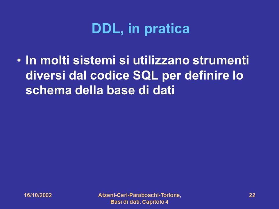16/10/2002Atzeni-Ceri-Paraboschi-Torlone, Basi di dati, Capitolo 4 22 DDL, in pratica In molti sistemi si utilizzano strumenti diversi dal codice SQL per definire lo schema della base di dati