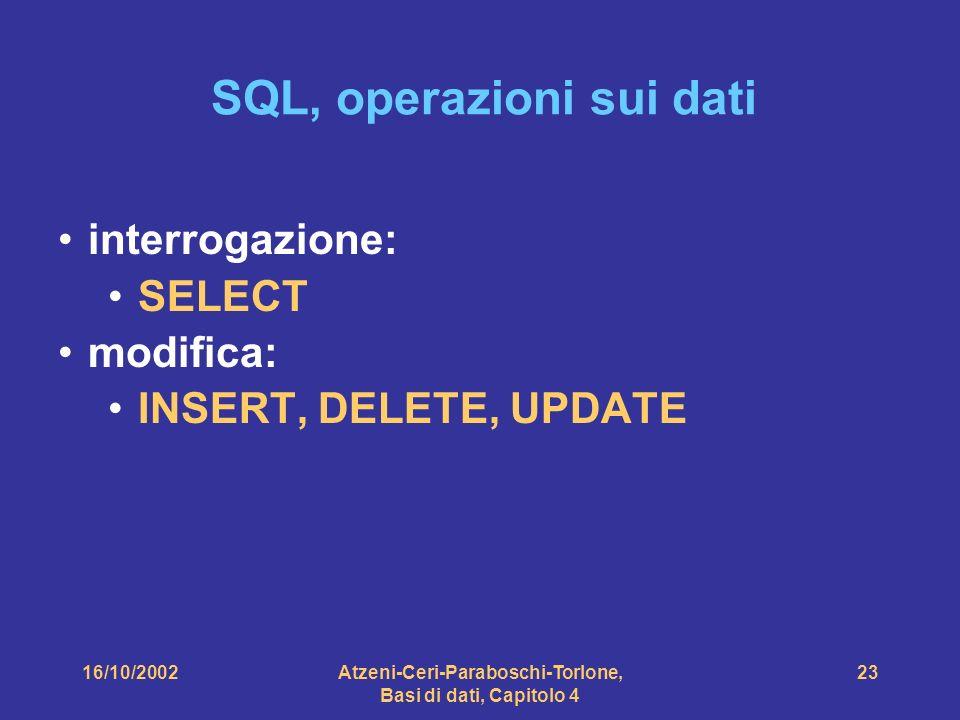 16/10/2002Atzeni-Ceri-Paraboschi-Torlone, Basi di dati, Capitolo 4 23 SQL, operazioni sui dati interrogazione: SELECT modifica: INSERT, DELETE, UPDATE