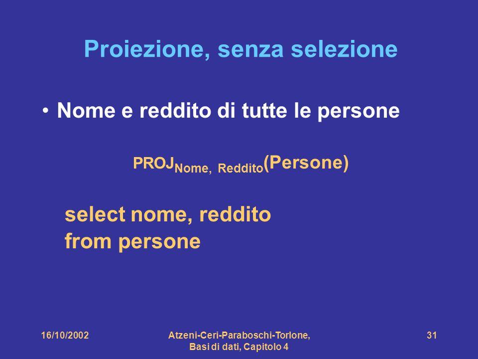 16/10/2002Atzeni-Ceri-Paraboschi-Torlone, Basi di dati, Capitolo 4 31 Proiezione, senza selezione Nome e reddito di tutte le persone PROJ Nome, Reddito (Persone) select nome, reddito from persone