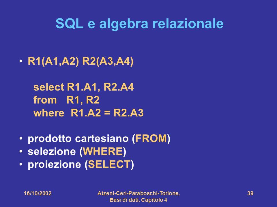 16/10/2002Atzeni-Ceri-Paraboschi-Torlone, Basi di dati, Capitolo 4 39 SQL e algebra relazionale R1(A1,A2) R2(A3,A4) select R1.A1, R2.A4 from R1, R2 where R1.A2 = R2.A3 prodotto cartesiano (FROM) selezione (WHERE) proiezione (SELECT)