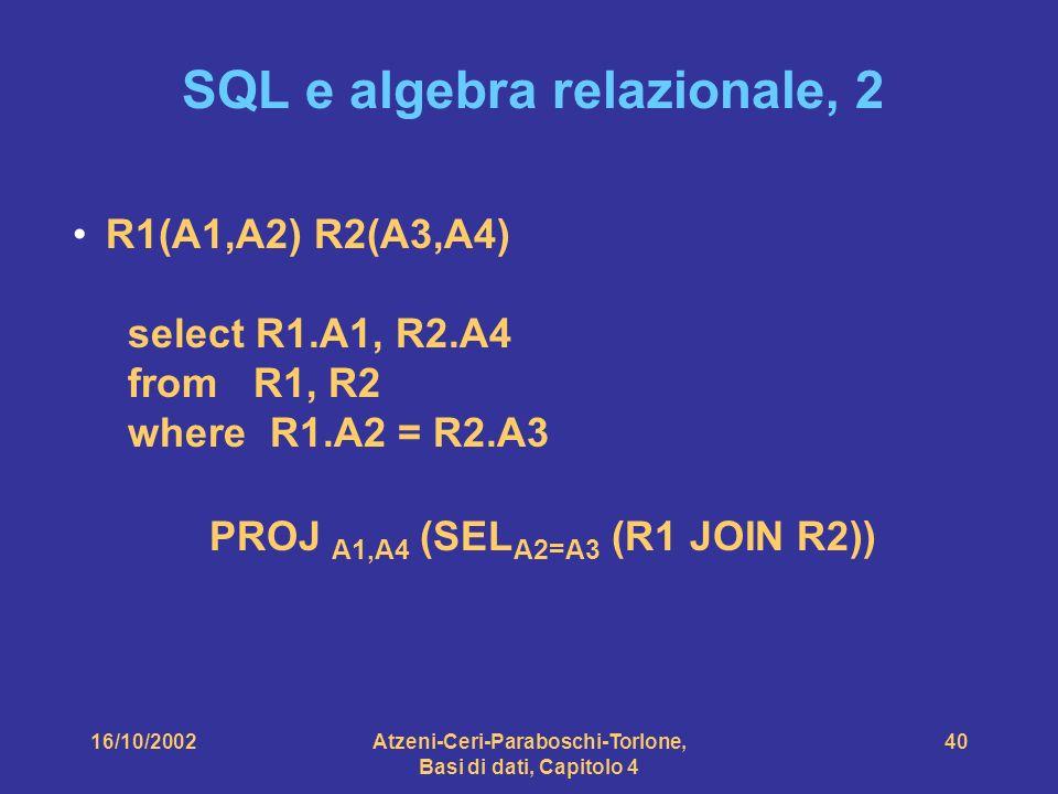 16/10/2002Atzeni-Ceri-Paraboschi-Torlone, Basi di dati, Capitolo 4 40 SQL e algebra relazionale, 2 R1(A1,A2) R2(A3,A4) select R1.A1, R2.A4 from R1, R2 where R1.A2 = R2.A3 PROJ A1,A4 (SEL A2=A3 (R1 JOIN R2))