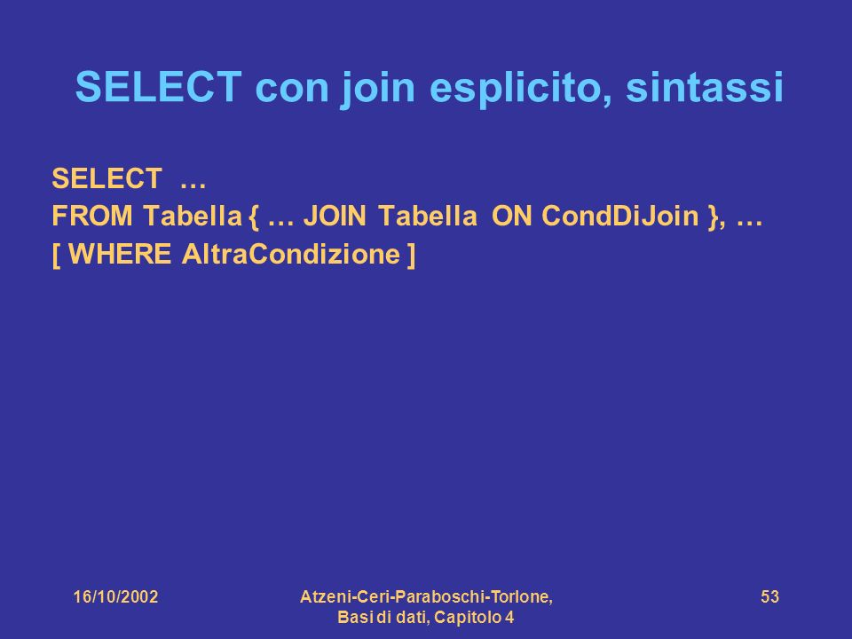 16/10/2002Atzeni-Ceri-Paraboschi-Torlone, Basi di dati, Capitolo 4 53 SELECT con join esplicito, sintassi SELECT … FROM Tabella { … JOIN Tabella ON CondDiJoin }, … [ WHERE AltraCondizione ]