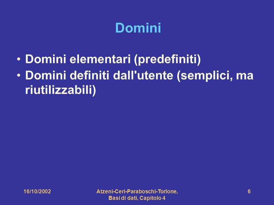 16/10/2002Atzeni-Ceri-Paraboschi-Torlone, Basi di dati, Capitolo 4 6 Domini Domini elementari (predefiniti) Domini definiti dall utente (semplici, ma riutilizzabili)